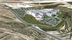 Recreación del nuevo hospital de Teruel y de su entorno
