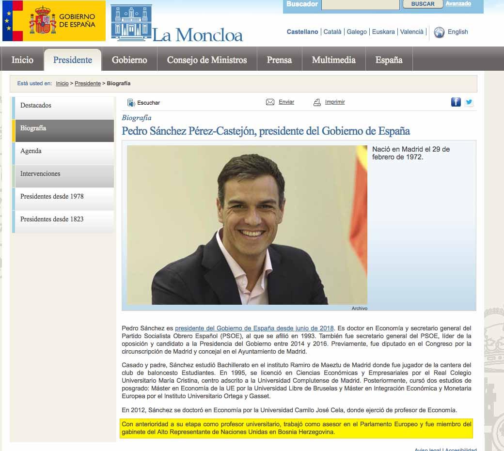 Sánchez también falseó su currículum: no tiene un máster del IESE ni fue jefe de gabinete en la ONU